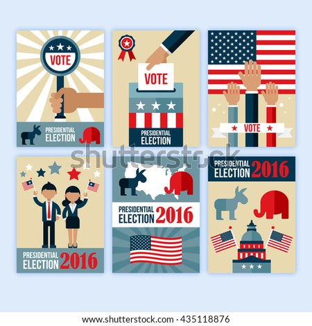 Presidential election poster design set. Presidential election voting concept for web and graphic design