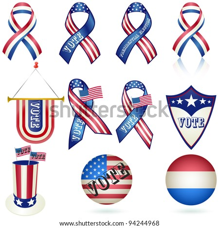 Presidential Election Vote Ribbon and other Element SET. Vector