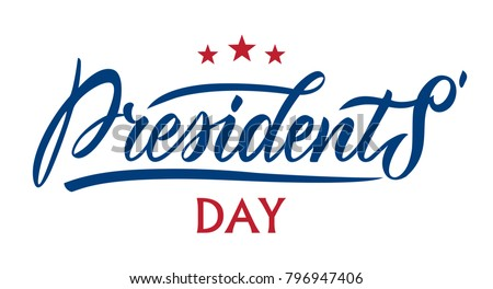 Presidents Day in USA typography vector design for greeting cards and poster. Calligraphic handmade lettering.   Design template celebration. Vector illustration.