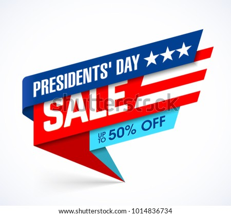 Presidents' Day Sale banner design template, big sale, special offer, up to 50% off, vector illustration