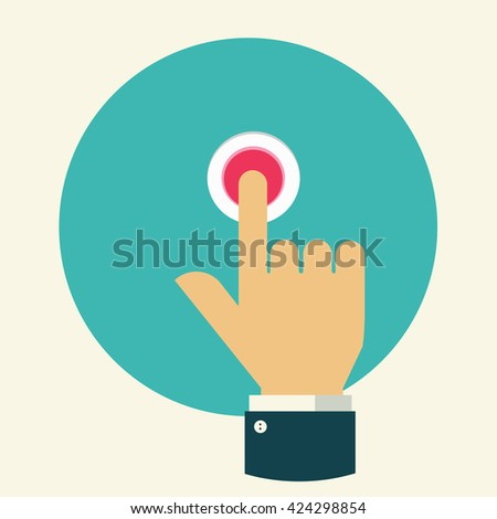Press button. Finger press on red button. Flat design. Vector illustration. #424298854