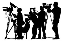Press cameraman silhouette