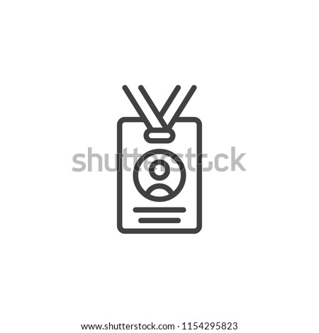 Press card outline icon. linear style sign for mobile concept and web design. Id card badge simple line vector icon. Symbol, logo illustration. Pixel perfect vector graphics