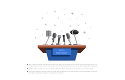 press conference breaking news vector illustration in flat style isolated on white background. Stand for press conference with microphones, equipped place for the speaker in front of journalists