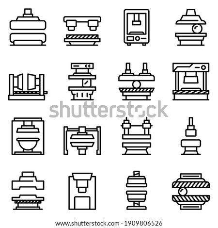 Press form machines icons set. Outline set of press form machines vector icons for web design isolated on white background