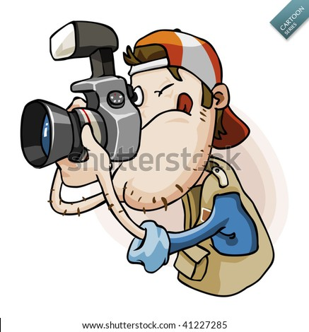 Press Paparazzi Holding Camera. Detailed Vector ...