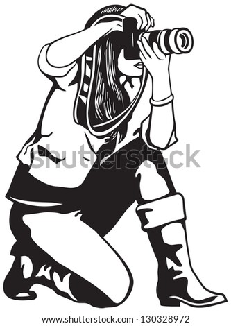 Press photographer girl with photo camera vector illustration