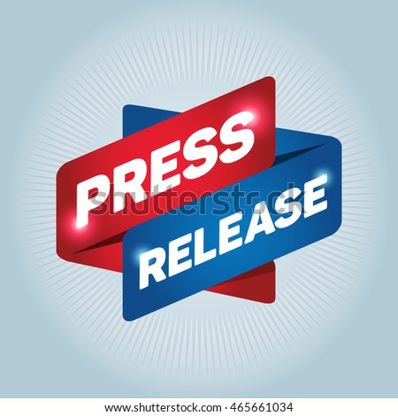 PRESS RELEASE arrow tag sign icon.