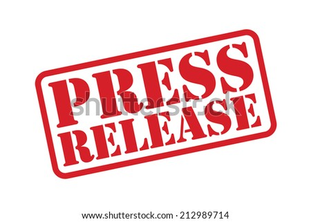 PRESS RELEASE red Rubber Stamp vector over a white background.