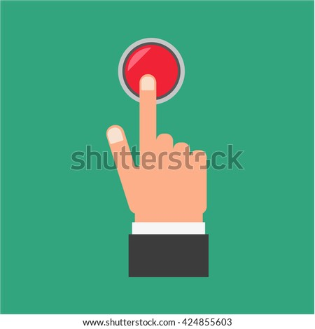 Pressing finger on red button. #424855603