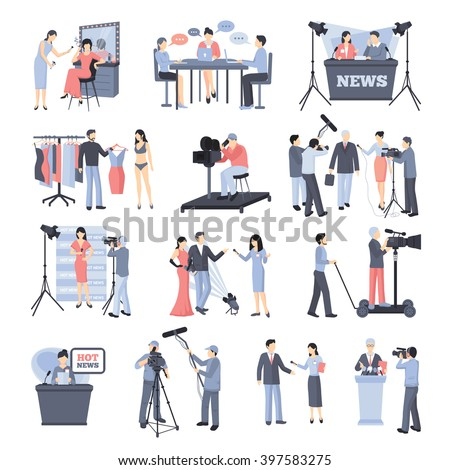 Pressman and operator icon set with reporter journalists celebrities news vector illustration