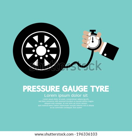 Pressure Gauge Tyre Vector Illustration