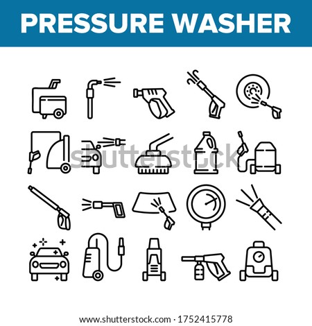Pressure Washer Tool Collection Icons Set Vector. Pressure Washer Equipment For Wash Car Wheel And Glass, Brush And Sprayer Concept Linear Pictograms. Monochrome Contour Illustrations