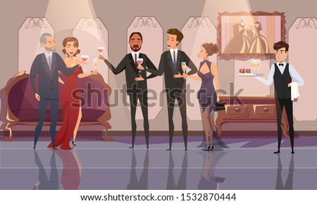 Prestigious, VIP party flat vector illustration. Happy rich people and servant cartoon characters. Wealthy men and women drinking wine. Waiter holding serving tray with snacks. Luxury lifestyle
