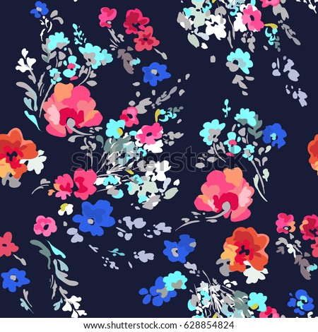 Pretty and colorful painted flowers ~ seamless background