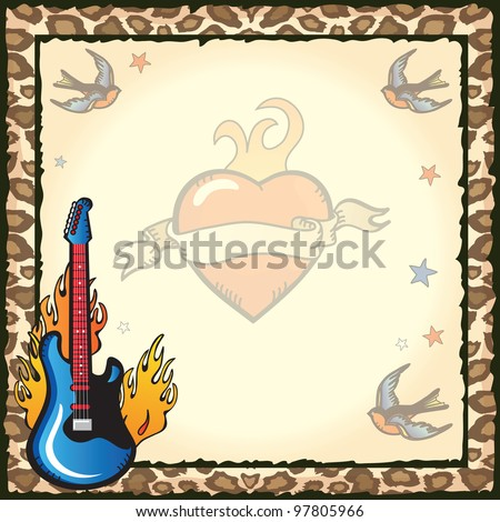 Pretty and Edgy rock star party invitation with old school sailor tattoos of blue birds, stars, flaming heart and flaming guitar against grungy vintage paper against a leopard print back ground.