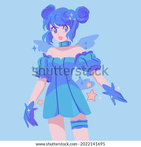 pretty anime cartoon fairy with