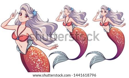 pretty anime mermaid using a v