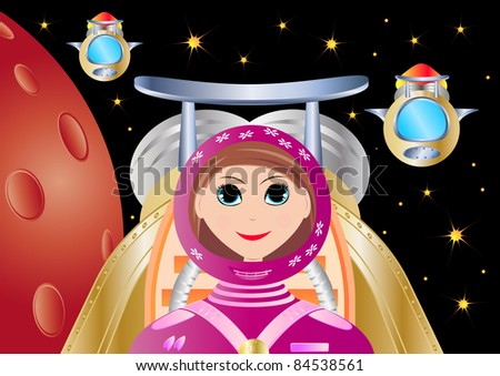 pretty astronaut girl exploring space with her flying ship