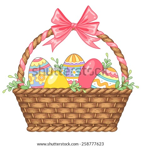 pretty basket with easter eggs