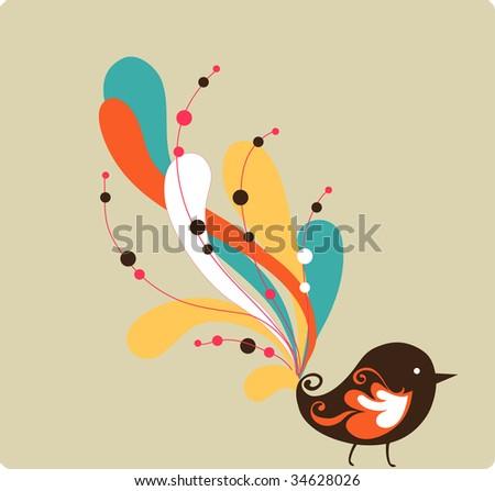 pretty bird with swirl