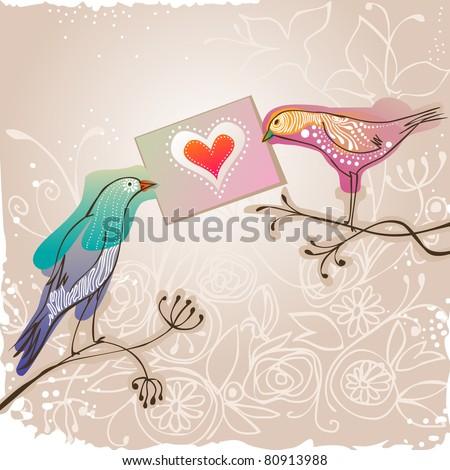 pretty birds holding love message