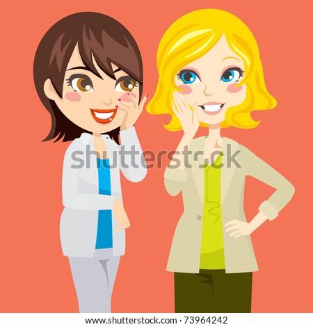 Pretty blond and brunette women gossiping friendly