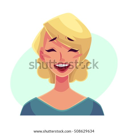 pretty blond woman  laughing