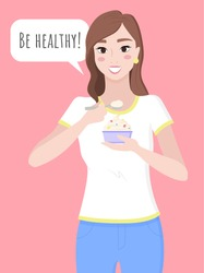 Pretty brunette woman hold cupcake in hands. Healthy and tasty food with probiotics and natural products. Diet cake, person eat pastry. Lady smiling and posing. Vector illustration in flat style