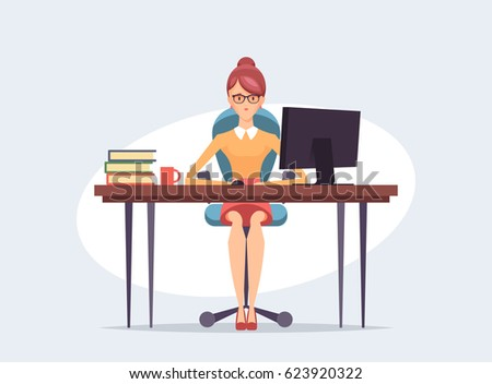 Pretty Business Woman Sitting and Working with Computer. Vector Illustration