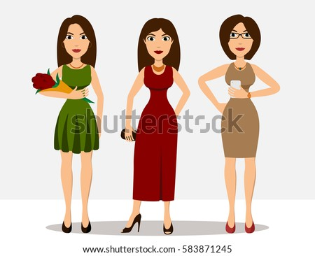 pretty cartoon brunette girls