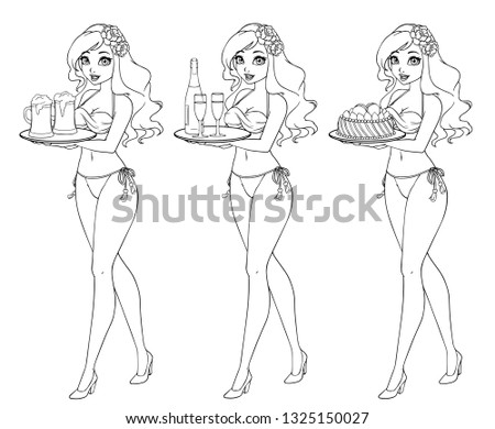 e4911a8abe52d Pretty cartoon girl in bikini swimsuit holding beer, champagne and cake.  Hand drawn contour