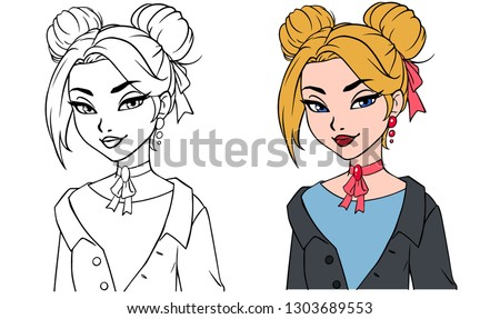 pretty cartoon girl portrait