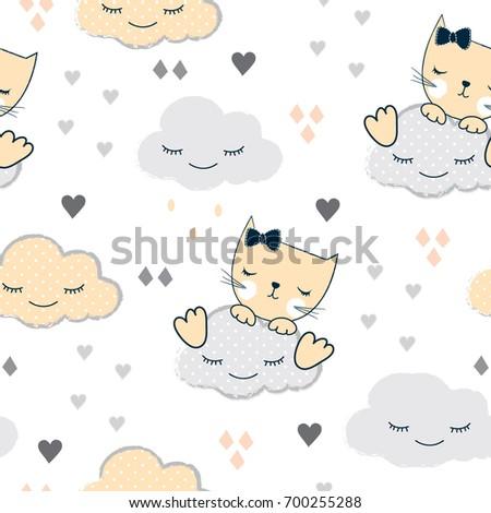 pretty cat sleeping on a cloud