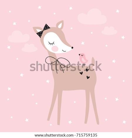 pretty deer with bird vector illustration