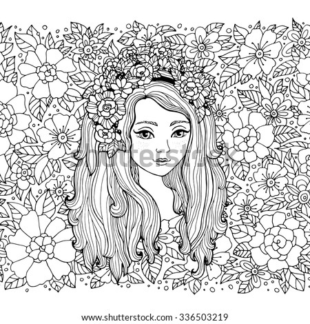Stock Photo Pretty elegant girl with flower wreath. Vector. Coloring book page for adult. Hand drawn amazing artwork. Love bohemia concept for wedding invitation, card, ticket, branding, boutique logo, label.