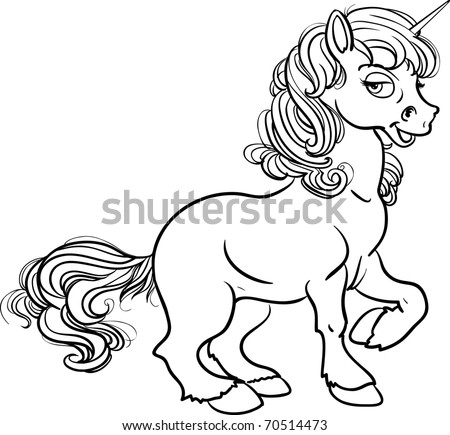 Pretty fabulous unicorn black outline for coloring