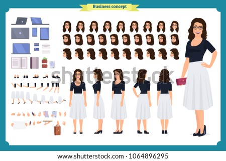 Pretty female office employee character creation set. Full length, different views, emotions gestures. Business casual women fashion. Build your own design. Cartoon flat-style infographic illustration