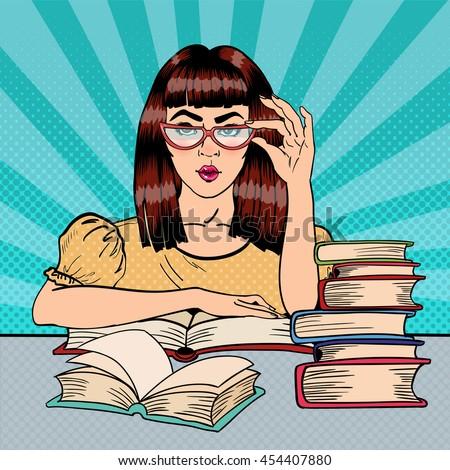 pretty female student reading