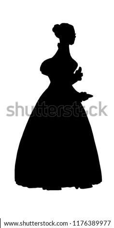 Pretty female vintage silhouette in dress with long curly combed hair in victorian style. Profile. Antique dress, long skirt, jacket, long sleeves. For posters, prints, banners, advertising, design
