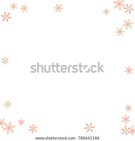 Pretty Floral Pattern with Simple Little Flowers for Greeting Card or Poster. Naive Daisy Flowers in Primitive Style. Vector Frame for Spring or Summer Design. #788665186