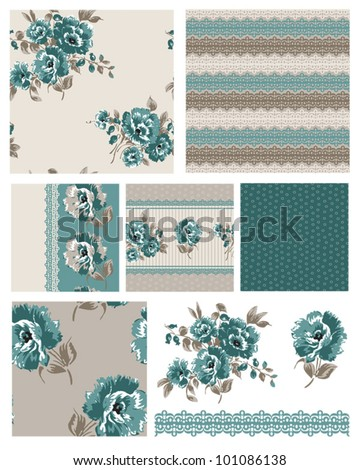 Pretty floral seamless vector patterns and icons.  Use to create great fabric or craft projects.