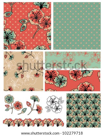 Pretty Floral Vector Seamless Patterns and icons.  Use to create Digital paper or textile projects.