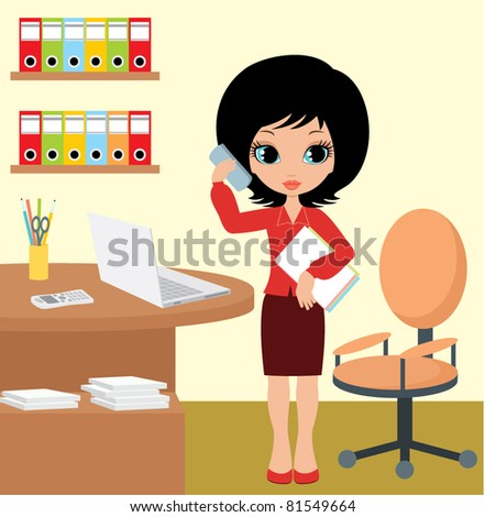 Pretty girl - business woman. vector, no gradient, color full