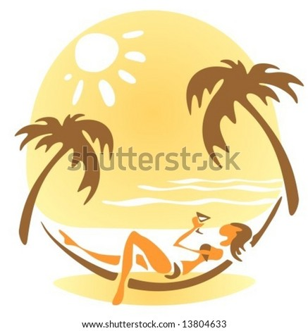 Pretty girl laying in a hammock on a sky background with sun.