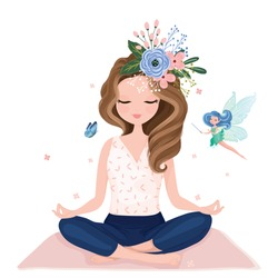 Pretty girl practicing yoga with little fairy vector illustration.