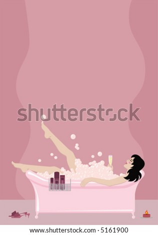 Pretty girl relaxing in a bubble bath with a glass of champagne, with copy space above