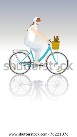 pretty girl rides bicycle
