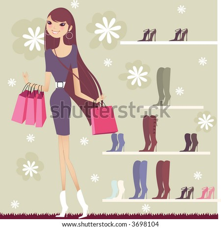 pretty girl shopping