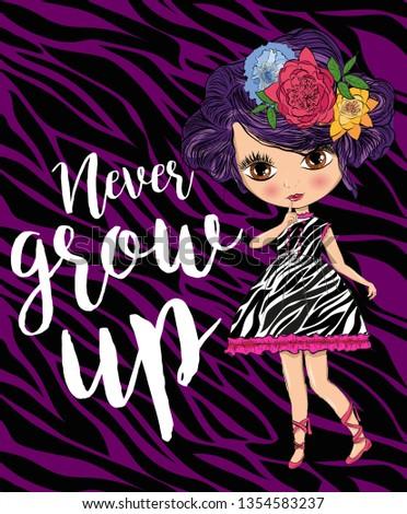pretty girl slogan with pretty girl illustration, newer grow up